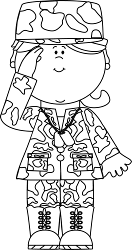 clipart Black white military girl. Navy clipart soldiers.