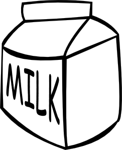 graphic royalty free library B and w clip. Milk clipart in box.