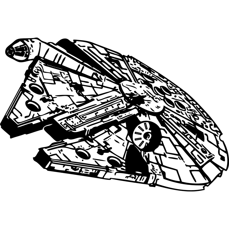 picture free stock Millennium clipart black and white. Falcon star wars stencil.