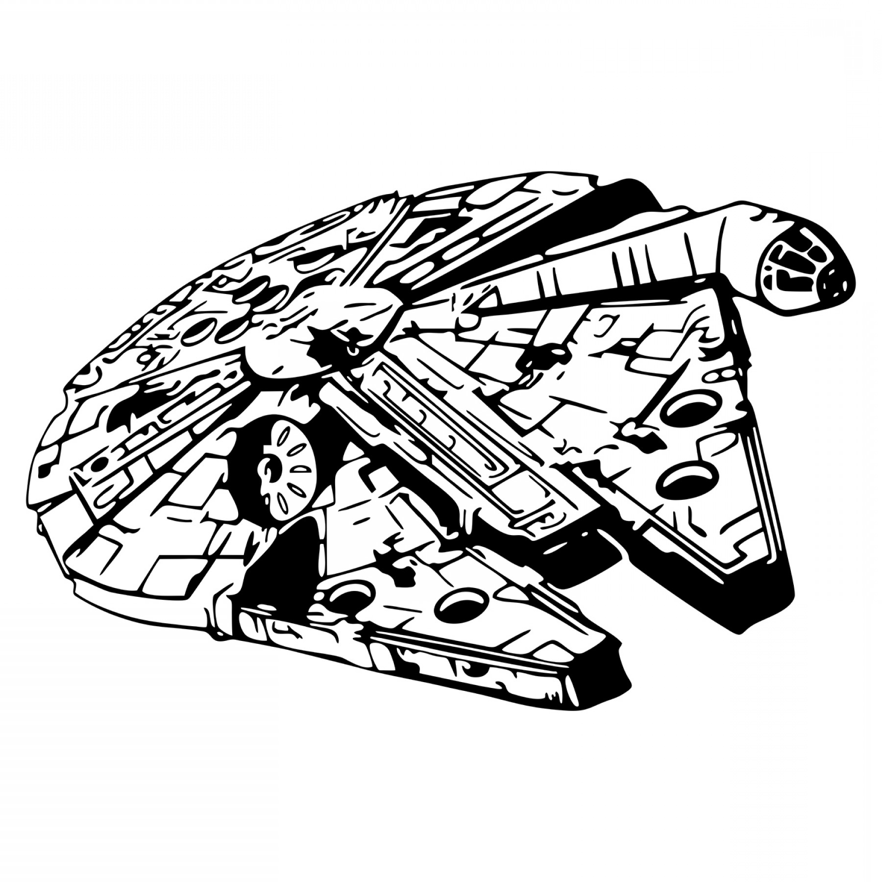 graphic transparent library Star wars falcon spacecraft. Millennium clipart black and white.