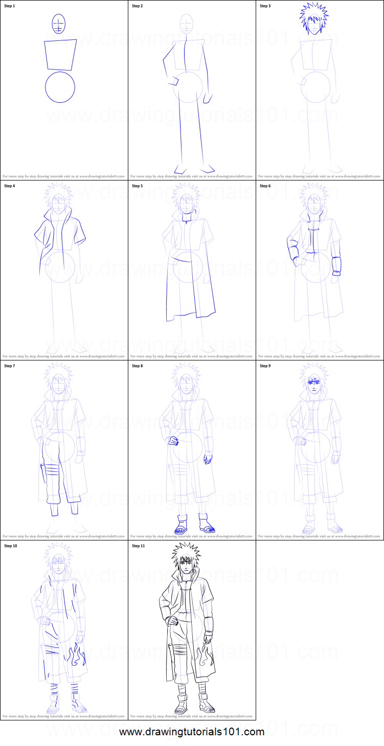image library download How to Draw Minato Namikaze from Naruto printable step by