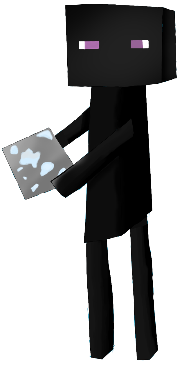 image black and white library Minecraft clipart ores. Mob enderman holding a.