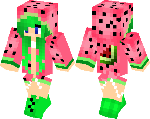 clip black and white stock Skin clipart watermelon. Girl minecraft hub .