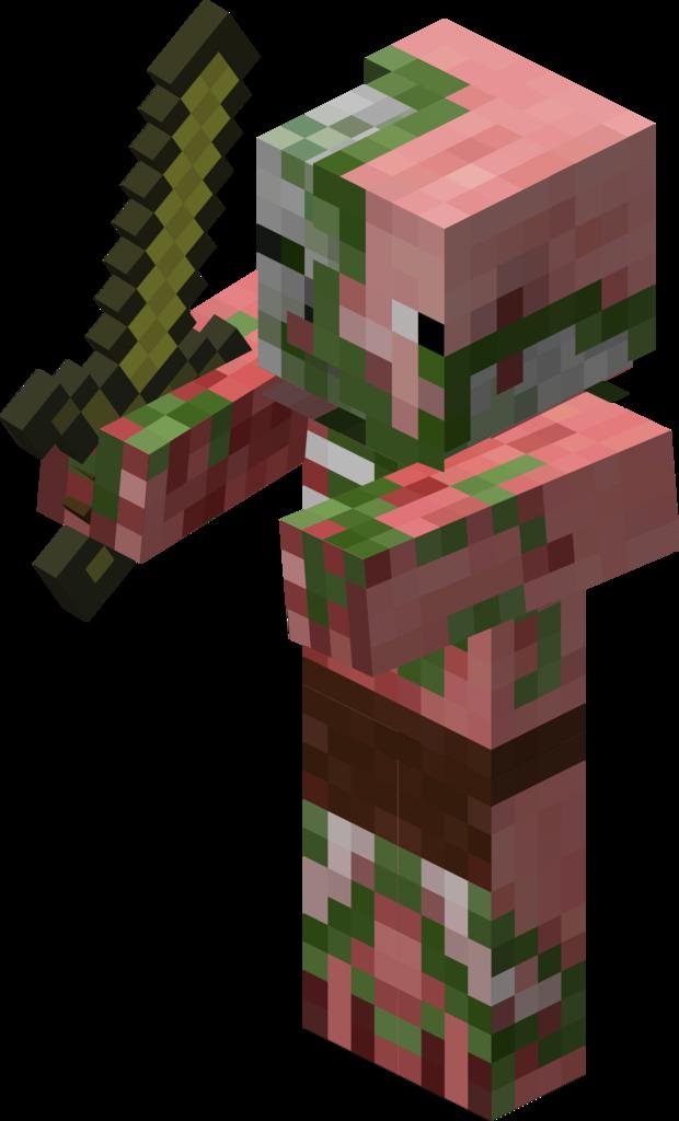 jpg black and white download Minecraft clipart zombies. Zombie pigman wiki fandom.