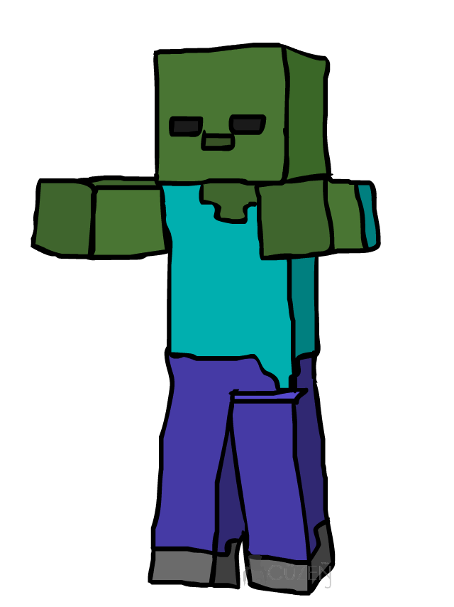 vector royalty free download Zombie running free on. Minecraft clipart zombies.
