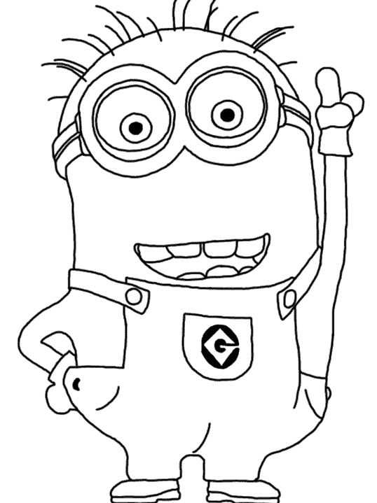 picture black and white Minion Coloring Pages
