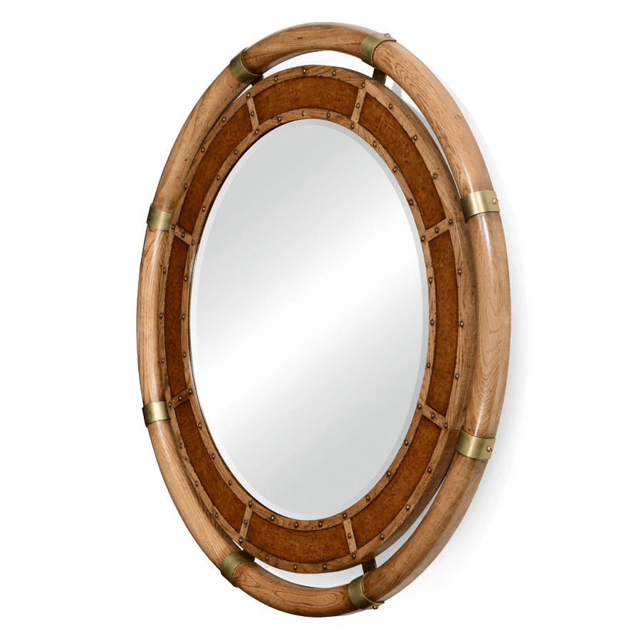 clip freeuse stock Mirror transparent circular. Nautical style oak and