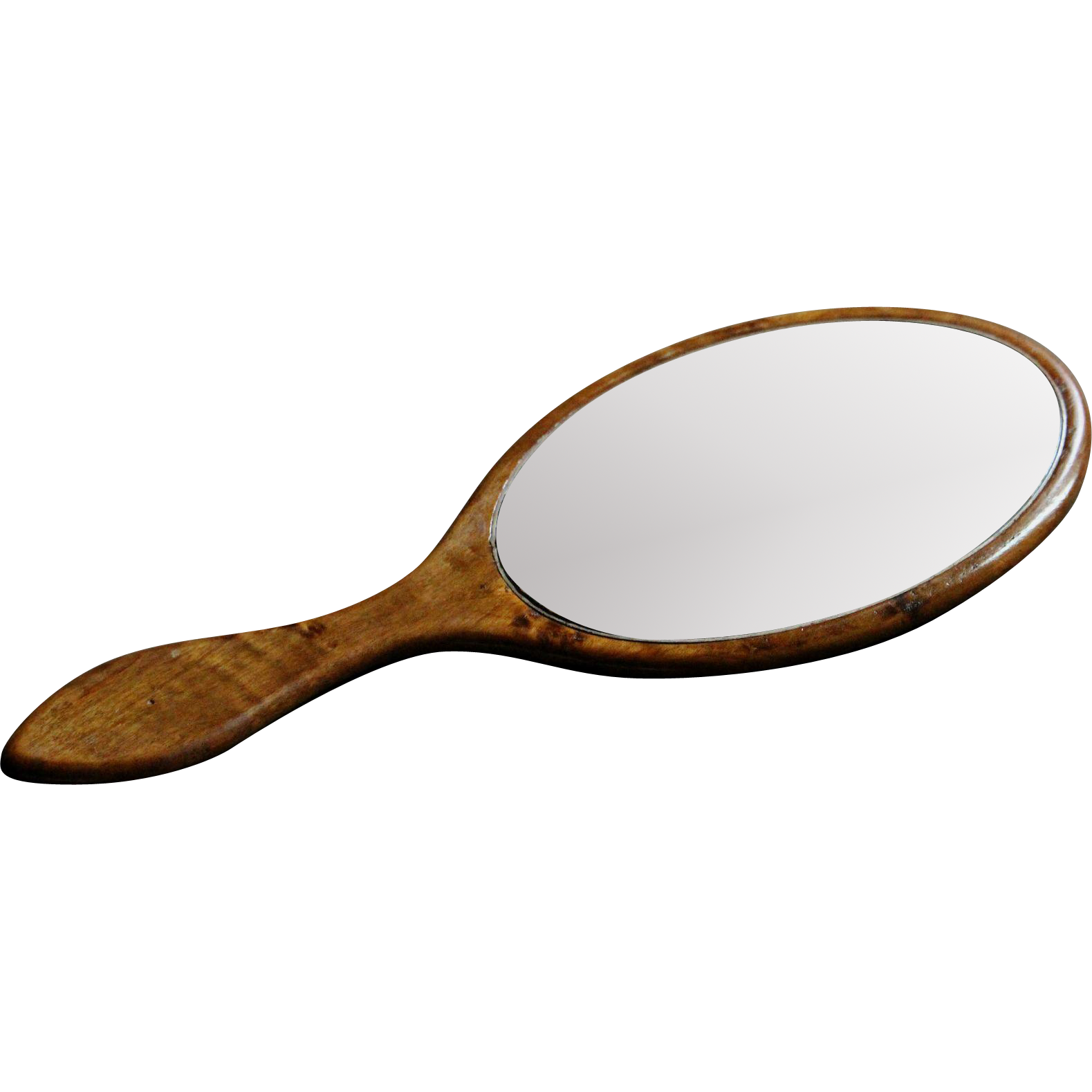 png black and white library Antique English Hand Held Vanity Mirror