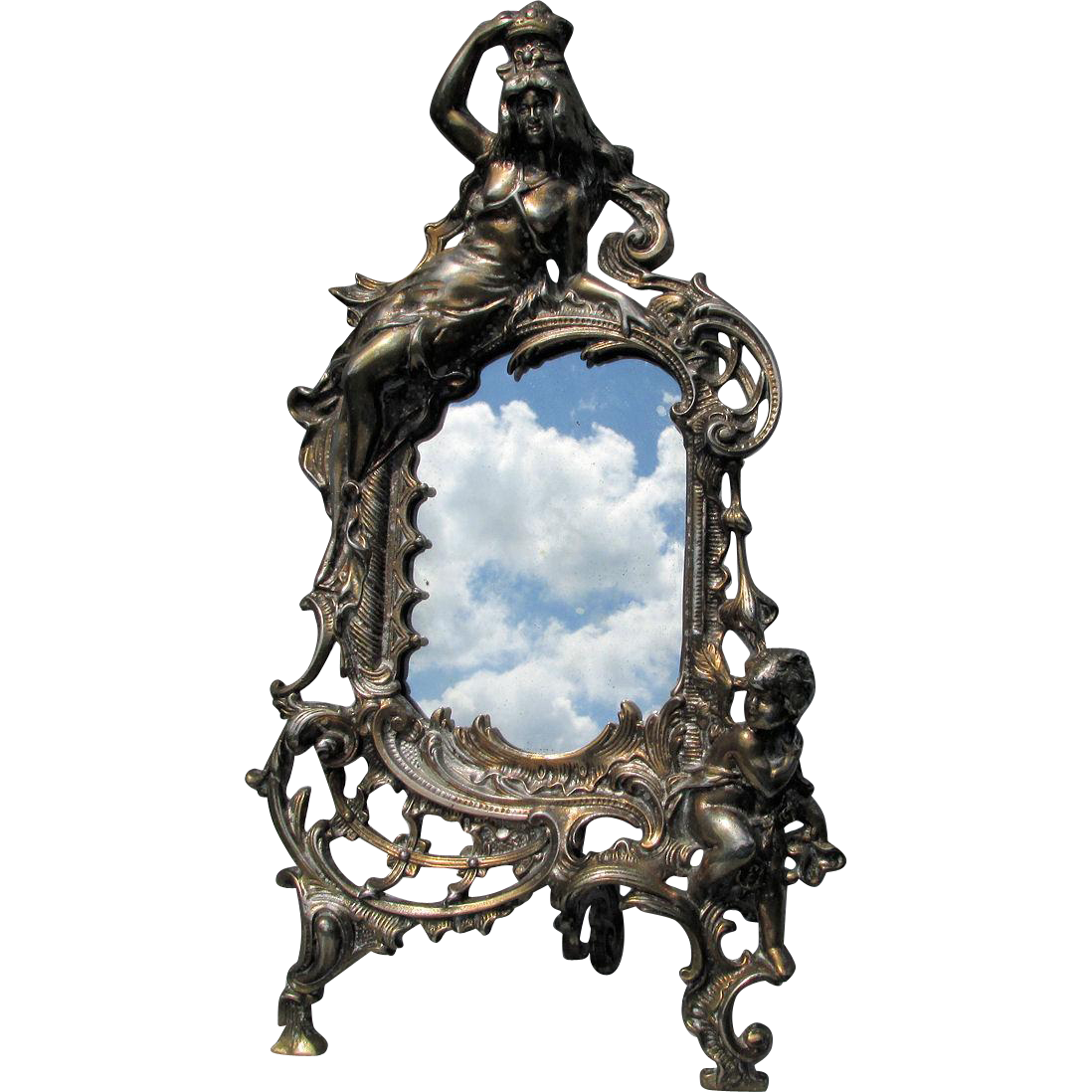 picture Mirror transparent victorian. Antique or picture frame.
