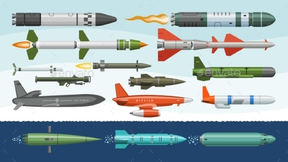 free library Military missilery rocket weapon. Missile vector