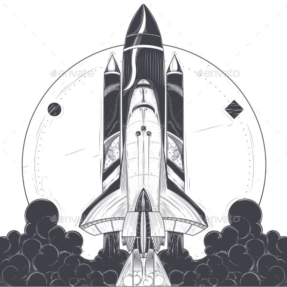 picture transparent library Space shuttle with carrier. Vector aviation spaceship nasa