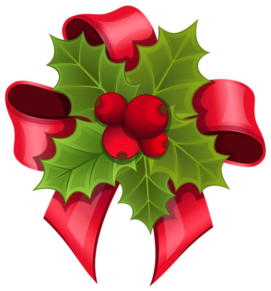 svg black and white library Mistletoe with Red Bow PNG Clipart Image