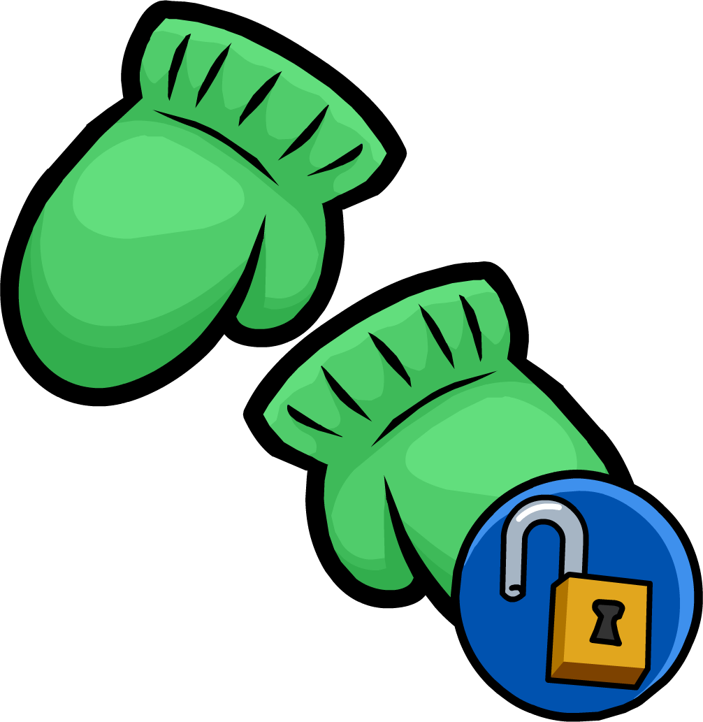 clip art free library Green mittens club penguin. Mitten clipart items.