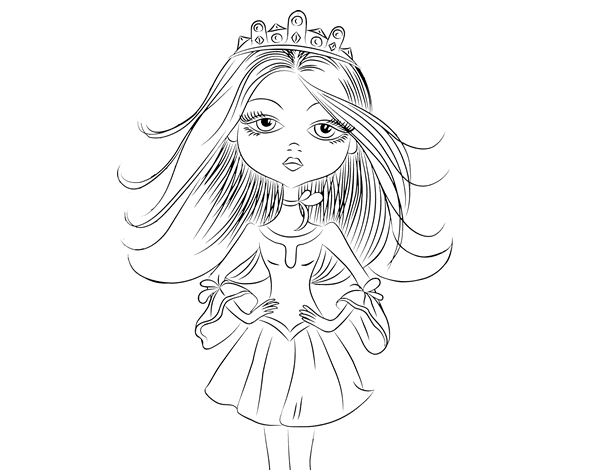 picture freeuse stock Coloring page coloringcrew com. Drawing princess modern