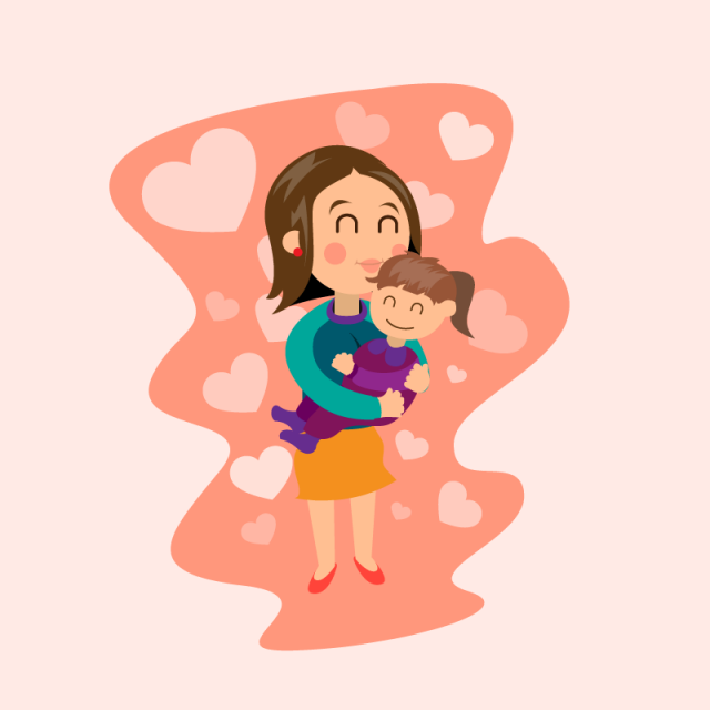 vector transparent library Woman holding her daughter. Mom vector motherhood