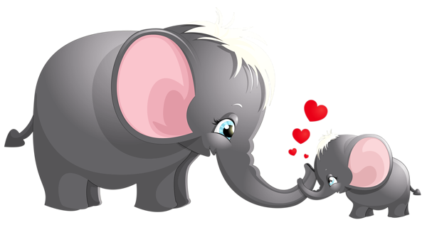 svg freeuse download Transparent Cute Mom and Kid Elephant Cartoon Picture