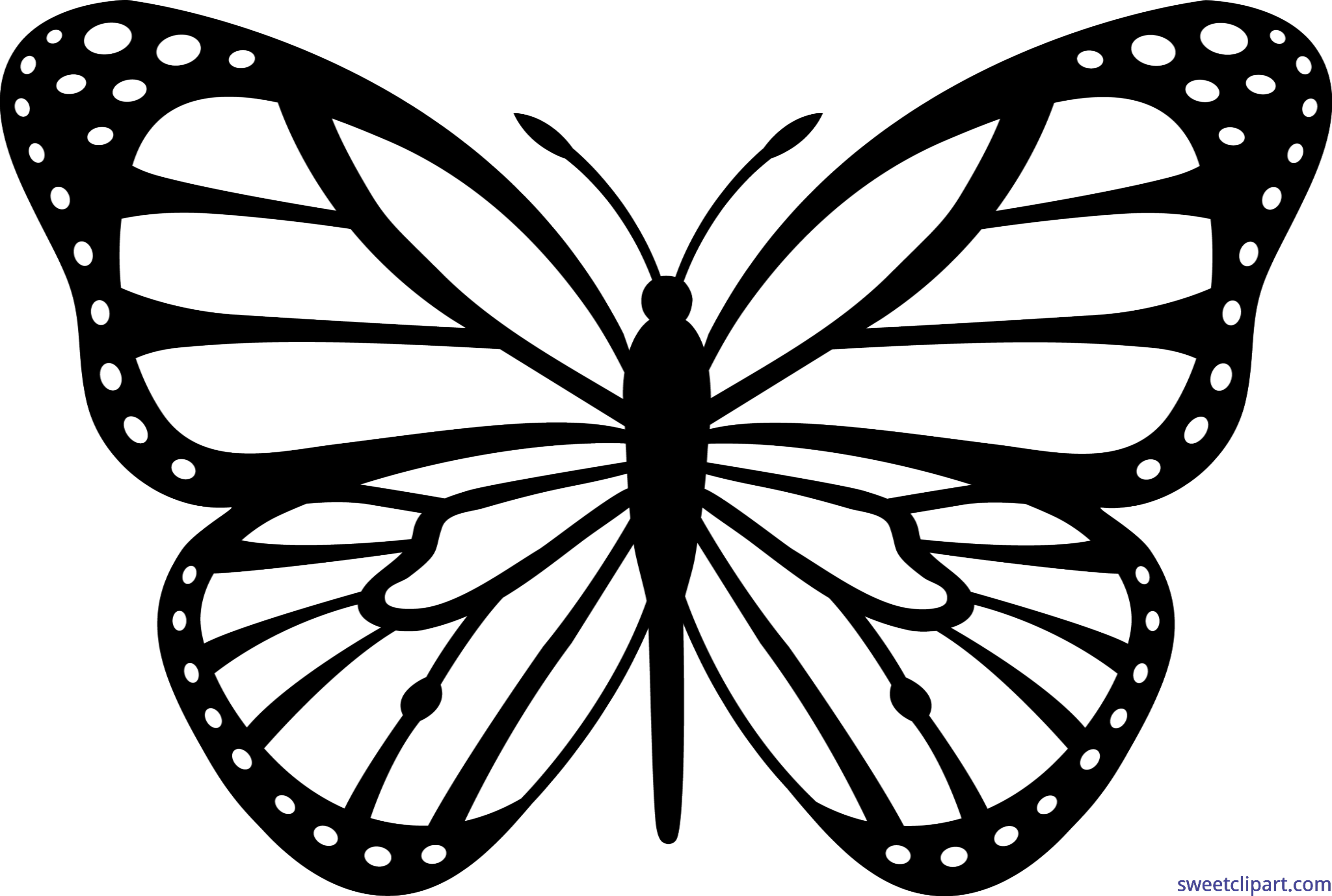 free library Monarch clipart bengali. Butterfly black white clip.
