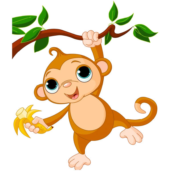 png Monkey clipart. Cute funny cartoon baby.