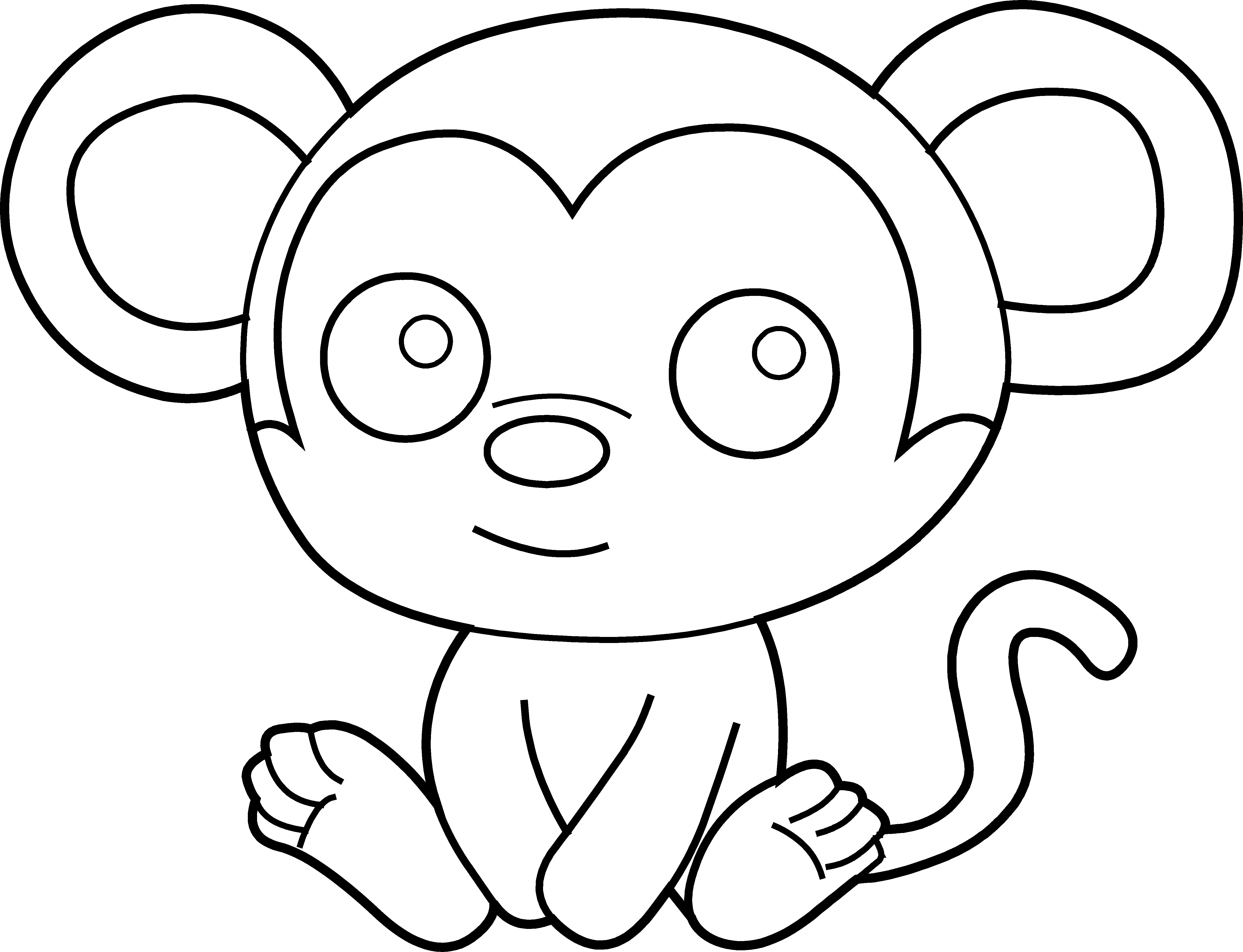 vector black and white Cute monkey clipart black and white. Crazywidow info
