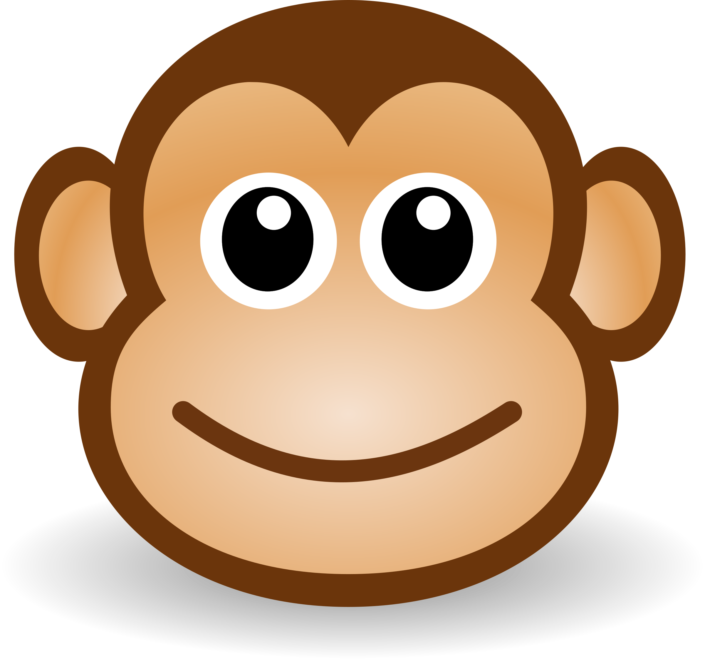 clip art freeuse library Monkey face clipart black and white. Funny big image png