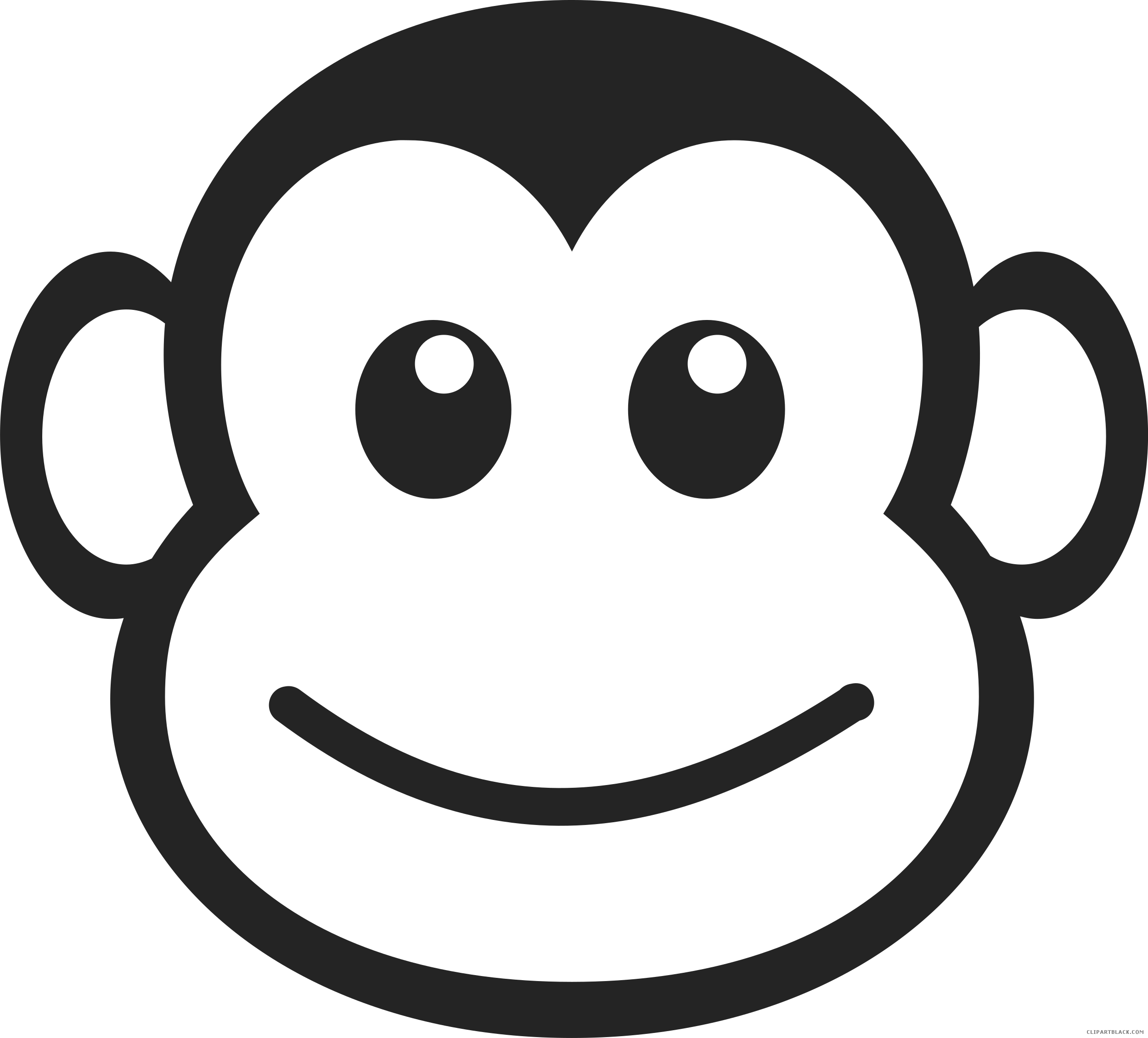 banner black and white download Monkey face clipart black and white. Clipartblack com animal free