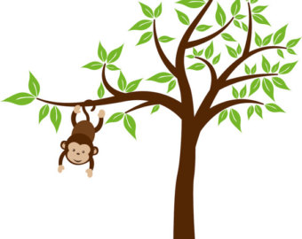 clipart stock Free pictures of monkeys. Ape clipart tree.