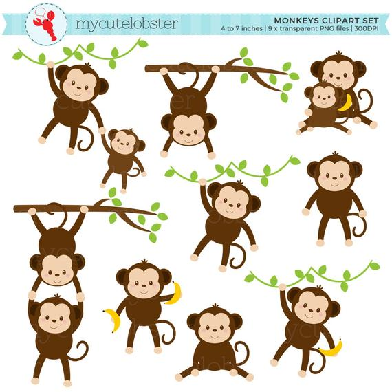 clipart black and white download Monkeys clipart. Set clip art of.