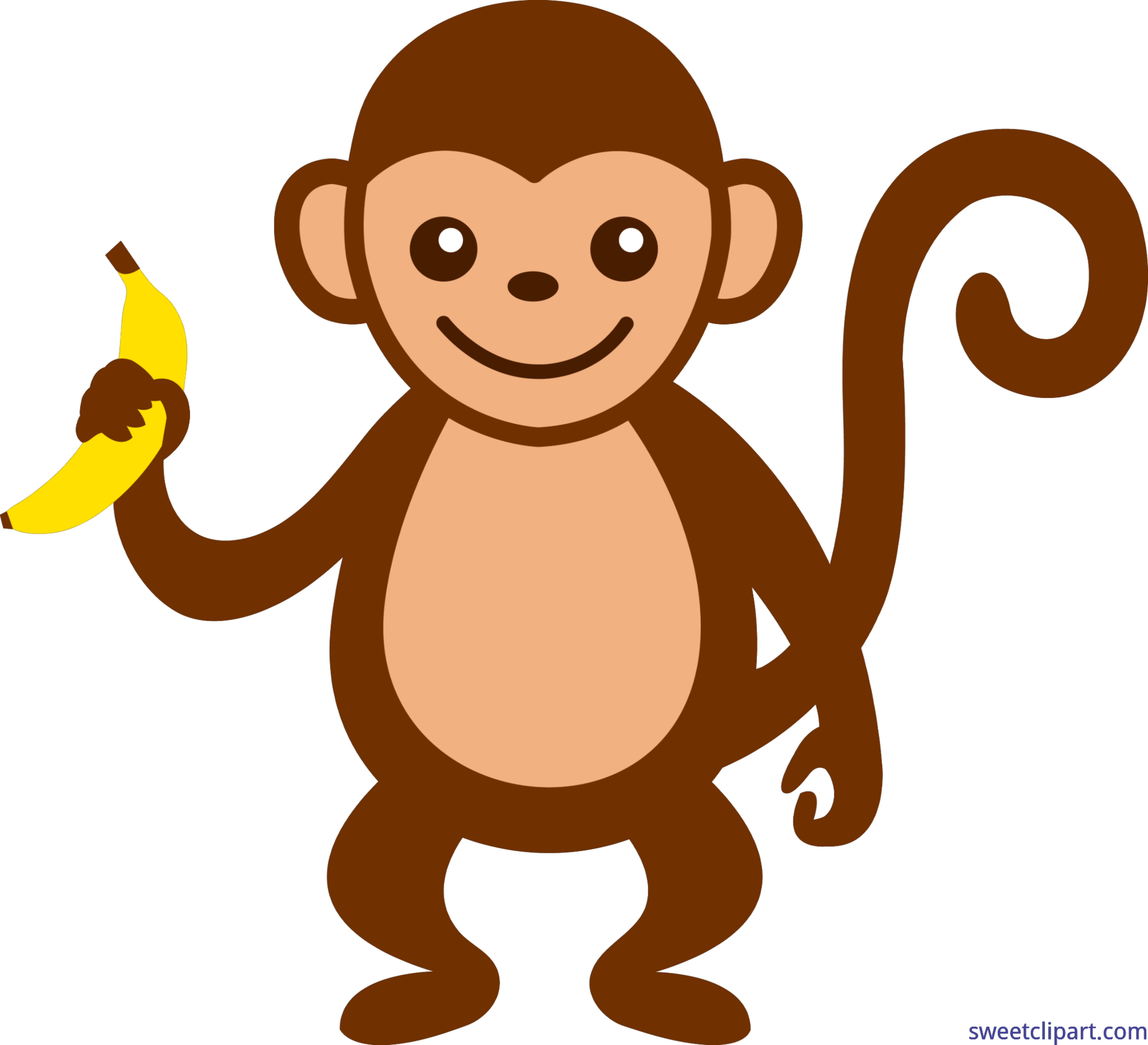 graphic freeuse library Monkeys clipart. Monkey with banana clip.