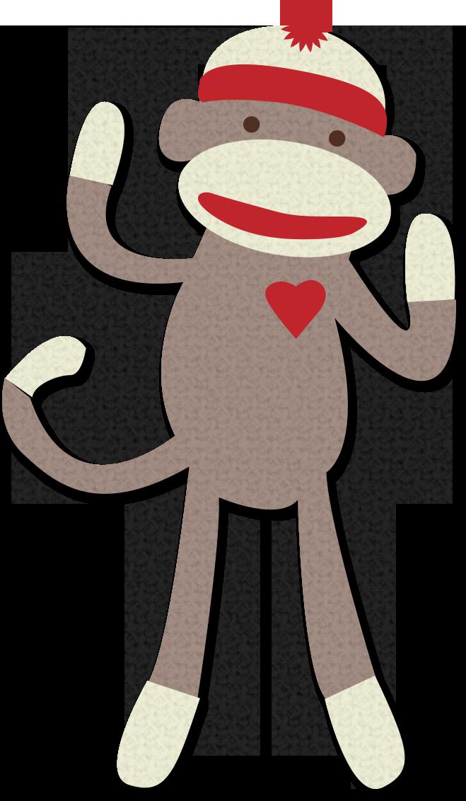 jpg black and white sock monkey clipart