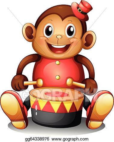 clipart royalty free library Monkeys clipart toy. Vector a musical monkey.