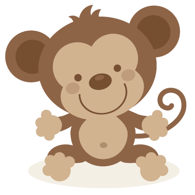 png black and white library Cute monkey SVG file and clipart