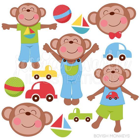 transparent stock Boyish cute digital for. Monkeys clipart toy.