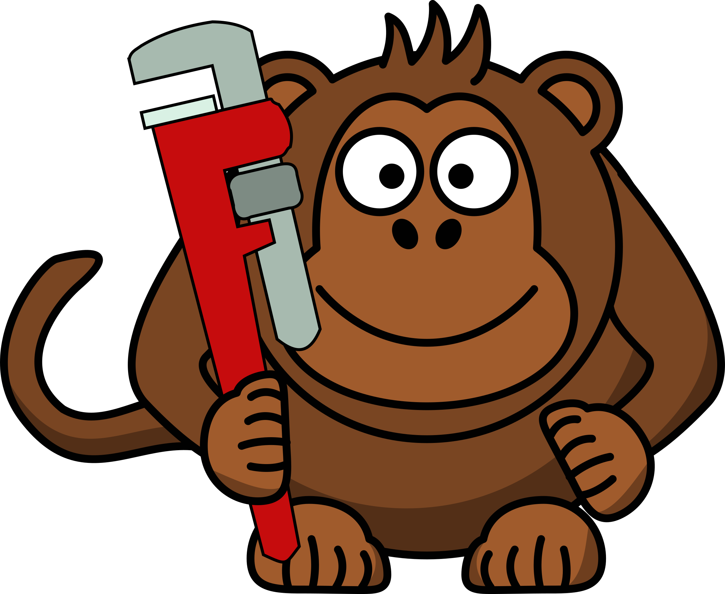 clipart black and white library Cartoon with big image. Monkey wrench clipart