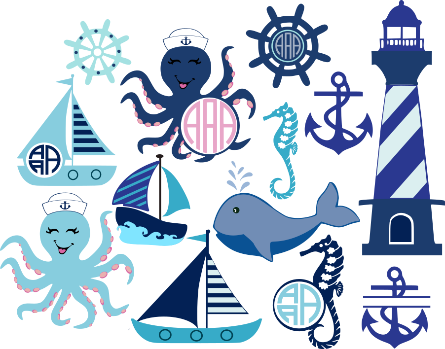 freeuse Nautical Beach Monogram Frame SVG Cut Files