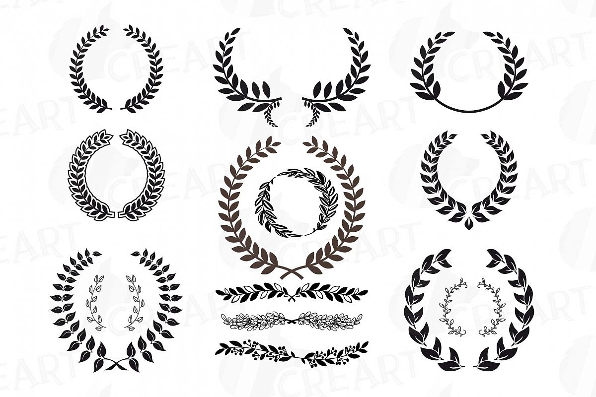 png black and white stock Laurel monogram frames silhouette. Clipart wreath