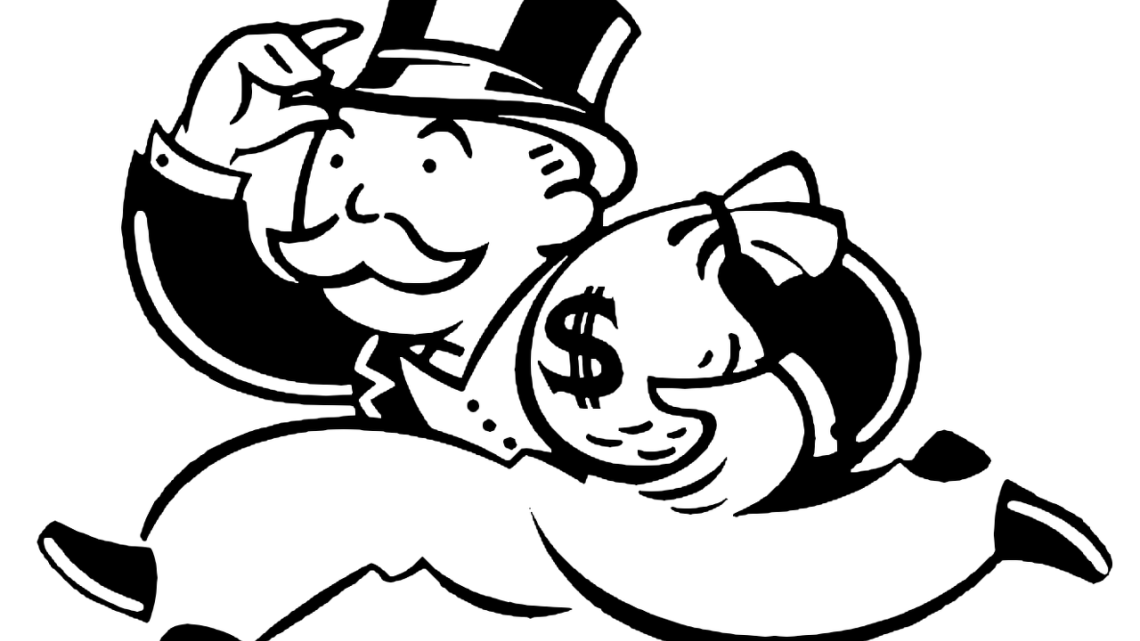 graphic black and white stock Mr Monopoly and Lenin