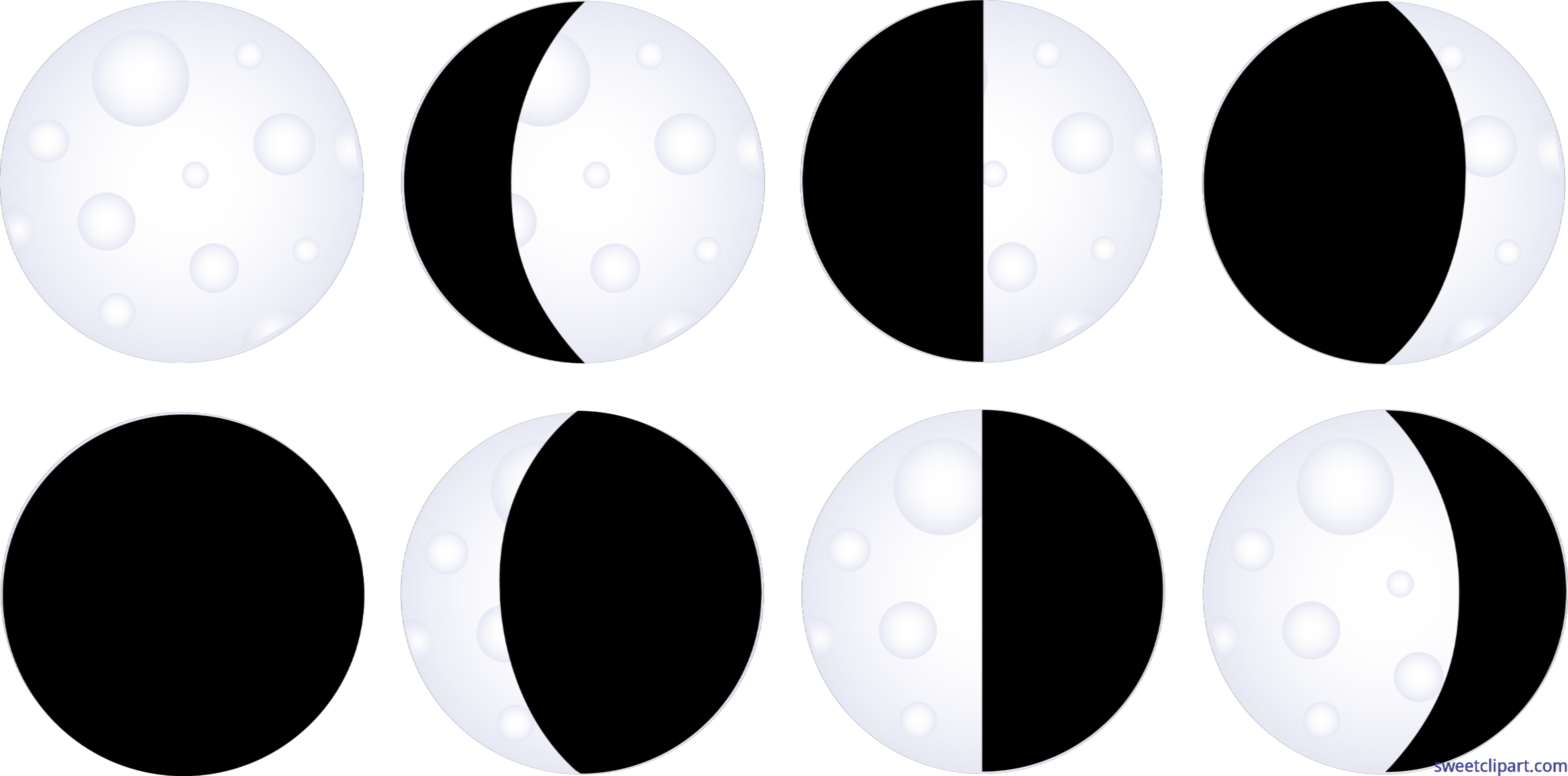 graphic royalty free Clip art sweet. Moon phases clipart black and white
