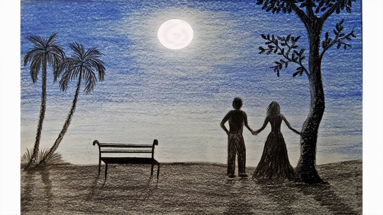 clip art freeuse How to draw moonlight night scene Step by step