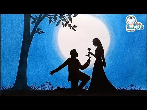clip black and white stock How to draw scenery of Moonlight night scene with pencil