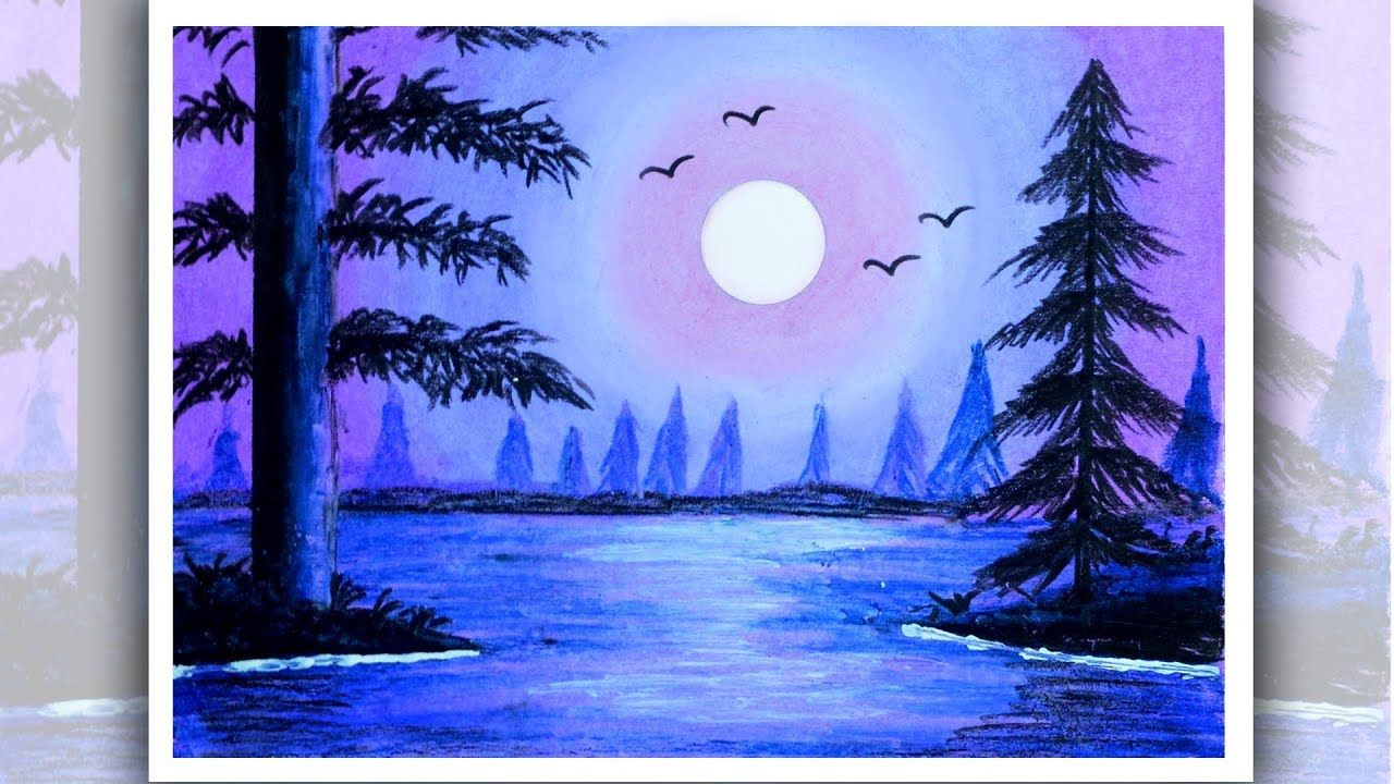 jpg royalty free download How to draw beautiful moonlight scenery