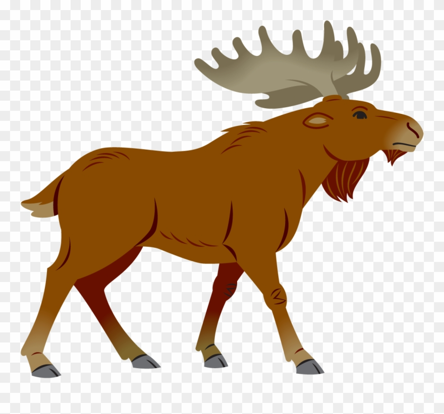 vector library stock Moose clipart. Simple cartoon png .