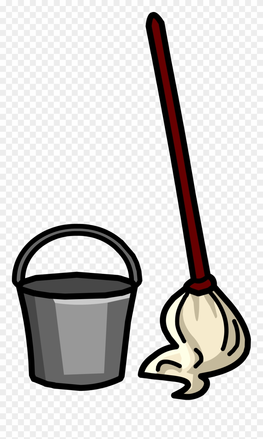 royalty free Free clip art bucket. Broom and mop clipart