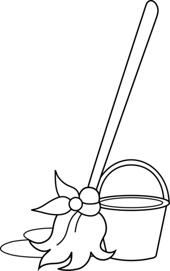 clip art transparent stock Bucket coloring page free. Mop clipart black and white