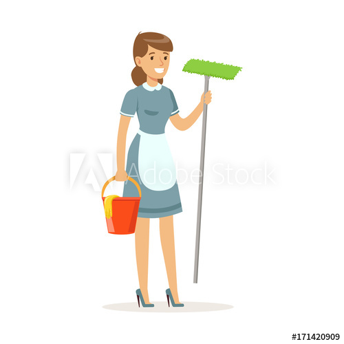 clip transparent stock Cheerful maid character wearing uniform standing with bucket