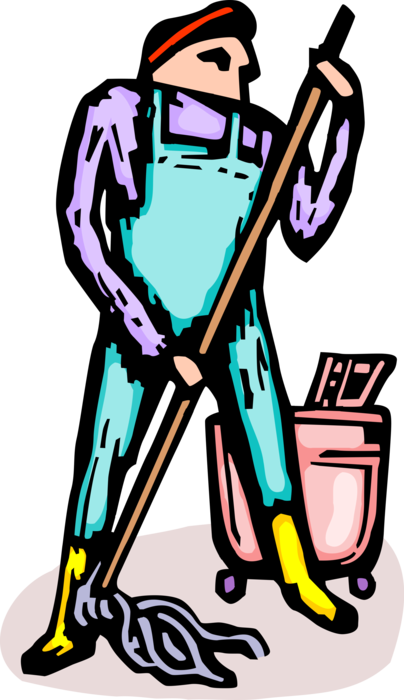 vector black and white library School Janitor with Mop and Pail