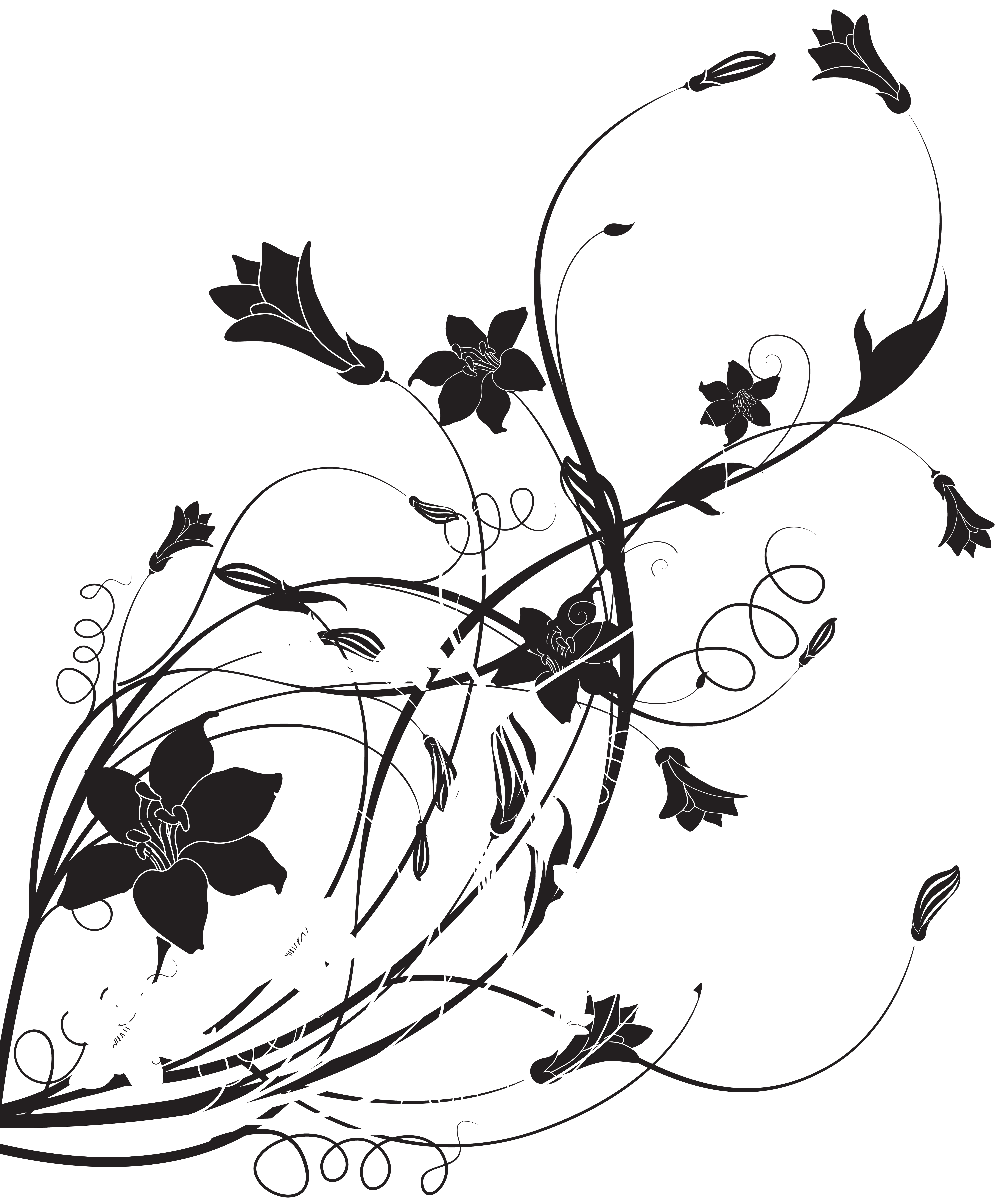 svg freeuse library Morning clipart black and white. Floral decoration png clip