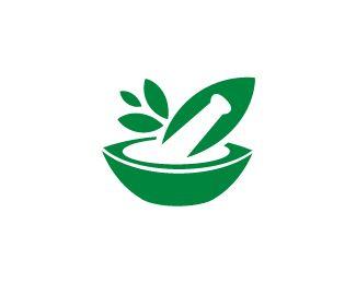 clip freeuse library Logo green organic traditional. Mortar and pestle clipart ayurveda symbol.
