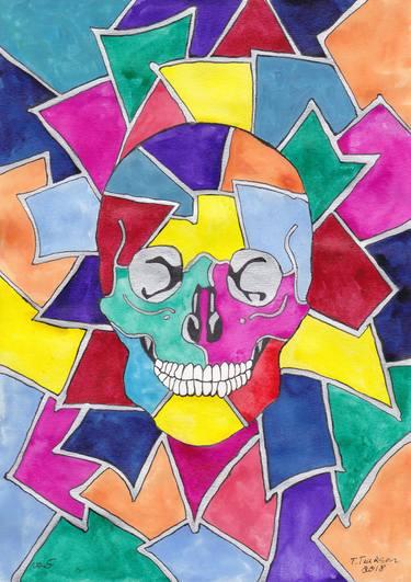 png download Mosaic drawing. Skull no