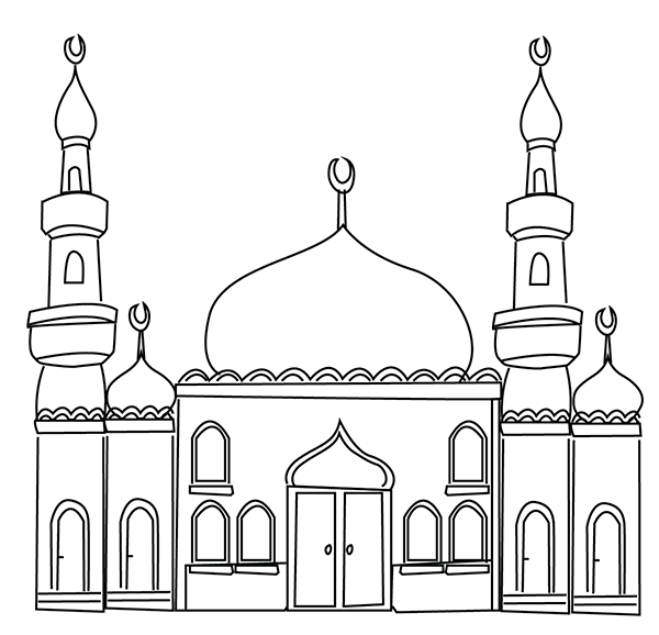 picture free Mosque clipart child colour. Ramadan colouring pages coaching.