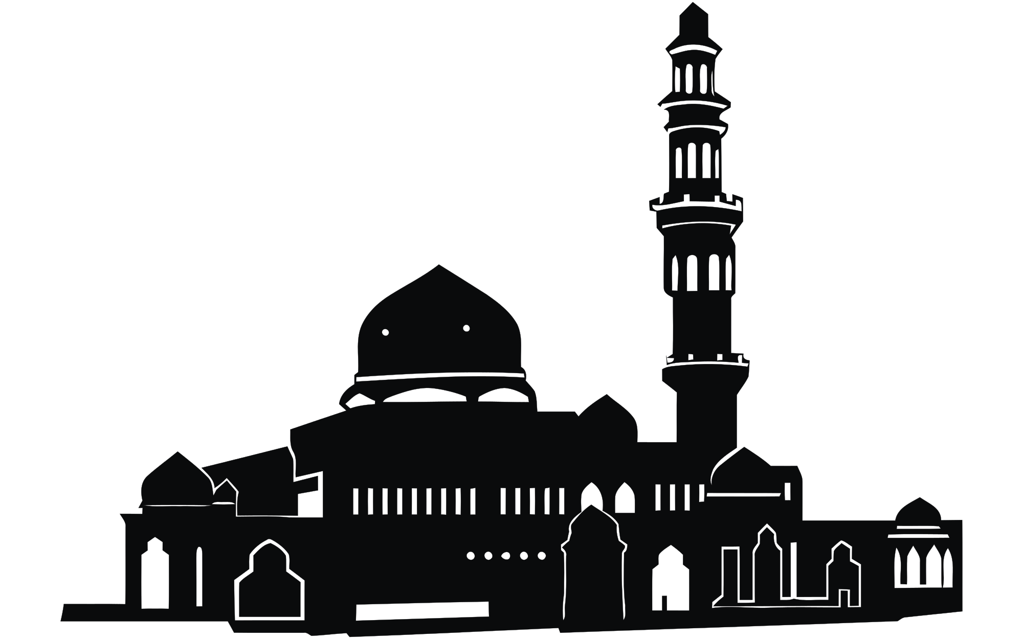 graphic black and white stock mosque vector transparent #100012199